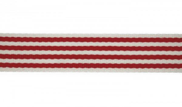 Baumwoll-Gurtband 40mm - schmale Streifen -weiss/rot