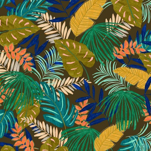 "Canvas Leinenlook - ""Tropical Leaves"""