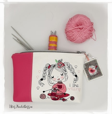 "Stickdatei Little Girl ""I like knitting"" - 2 Größen (10x10/13x18 cm)"