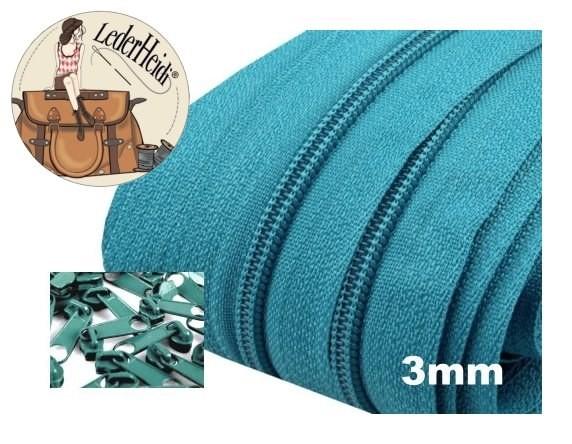 3 Meter Endlos-Reissverschluss 3mm - aquablau- inkl. 12 Zipper