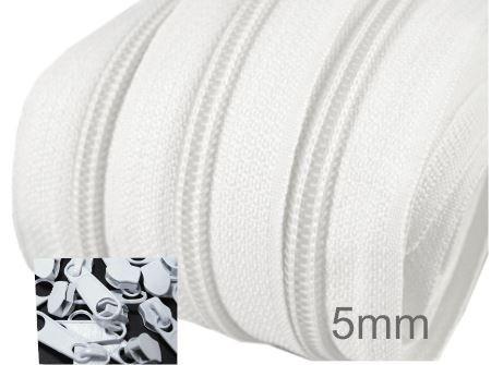 Endlos-Reissverschluss 5mm - weiss - inkl. 4 Zipper/Meter