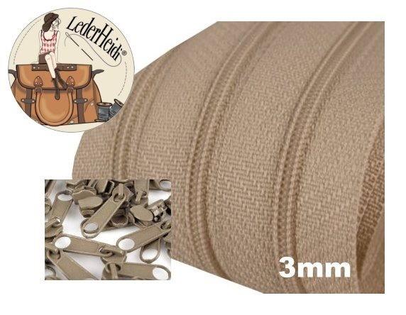 Endlos-Reissverschluss 3mm - sand- inkl. 4 Zipper/Meter