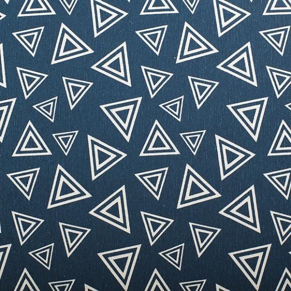 """Dekostoff in Leinenoptik """"Dreiecke"""" - blau"""