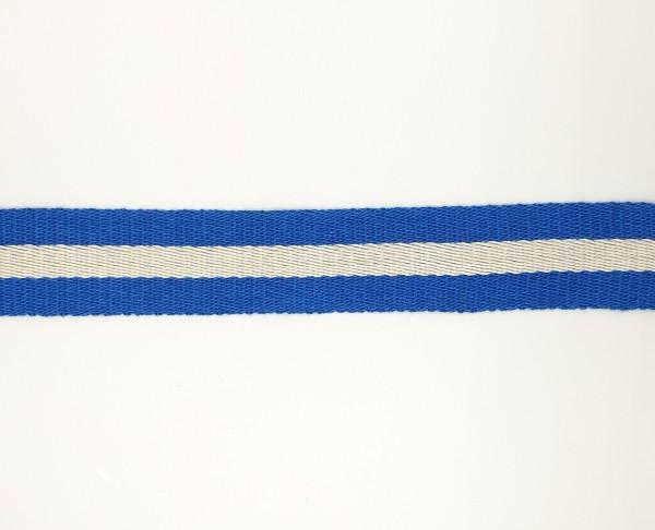 Baumwoll-Gurtband 40mm - breite Streifen roayalblau/weiss